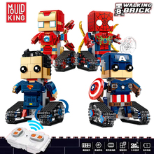 цена Marvel Super Heroes Remote Robot Iron Man Spiderman Superman Captain America Figures Blocks Legoing Building Toy For Kids онлайн в 2017 году