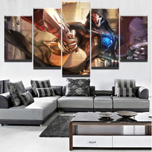 Wall Art Pictures Printed Modular Home Decor Living Room Poster 5 Pieces Game Overwatch Reaper Canvas Painting Framework