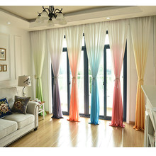 Colorful Tulle Curtains for Living Room Window Decorations Gradient Color Curtain for The Bedroom Kitchen Door Yellow Blue Green(China)