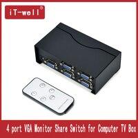 4 Port VGA VEDIO Switch Box 4 Input 1 Output VGA Monitor Share Switch for Computer TV Box