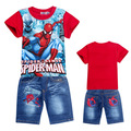 free shipment children suit kids cartoon suits,cartoon clothing t shirt+jeans for boys and girls,6sets/lot mix full size 3885