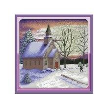 Joy Sunday Church Landscape Painting Cross Stitch Embroidery Fabric Aida Canvas 14ct 11ct Counted DIY Needlework Sets DMC Floss