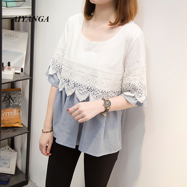 15db5ae8a06a Women Blouses 2019 Fashion Summer Half Sleeve O-neck Ladies Cotton Lace  Stitching Blouse Shirt Loose Casual Tops Plus Size Blusa