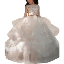 White First Communion Dresses Kids Ball Gowns Organza Robe Soiree Fille Wedding Party Tulle Little Flower Girls Pageant Dresses tulle glitz pageant dresses long flower girls dresses for wedding gowns ball gown girls first communion mother daughter dresses
