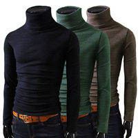 2014 Fashion New Men T Shirts Turtleneck Slim Fit Long Sleeve Cotton Man Shirt Top Black