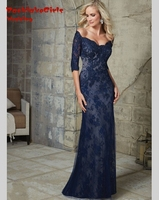 Kaftan Design Navy Blue Lace Mermaid 2016 Party Formal Long Evening Dress Gowns With Sleeves Vestido