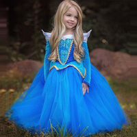 3 8Y Girl Aurora Princess Costume Kids Sleeping Beauty Cosplay Dress Long Sleeve Summer Tutu Halloween