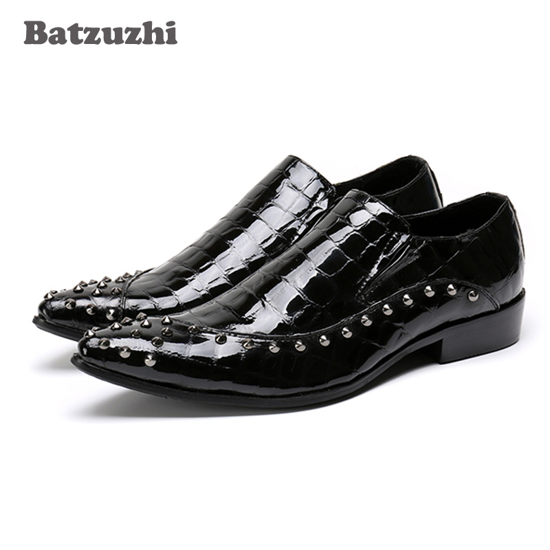 Batzuzhi Luxury Handmade Men Shoes Black Men Leather Dress Shoes Slip on Studdes Fashion Office Suit Shoes Size 37-46 US5-US12