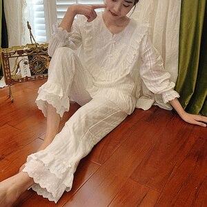 Image 3 - Womens Lolita Pajama Sets.Lace Embroidered Flowers Tops+Long Pants.Vintage Ladies Pyjamas Set.Victorian Sleepwear Loungewear