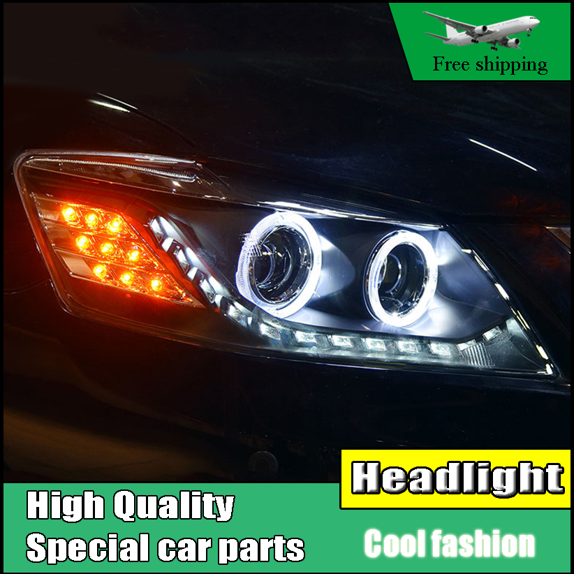Car Styling Head Lamp Case For Toyota Camry Headlights 2009 2010 2011 LED Headlight Angel eyes DRL H7 HID Xenon bi-xenon lens for toyota camry led headlights car styling 2015 for camry xenon headlights led drl light guide bifocal lens headlight light