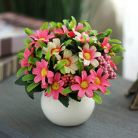 Artificial Flowers In Pots Artificial Flowers Potted Plants Daisy Silk Flower Set Home Party Wedding Artificial