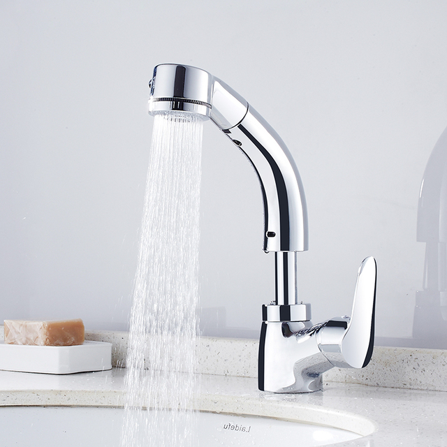 FLG Flessibile Pull Out Bagno Rubinetto Del Bacino Hot Cold Water ...