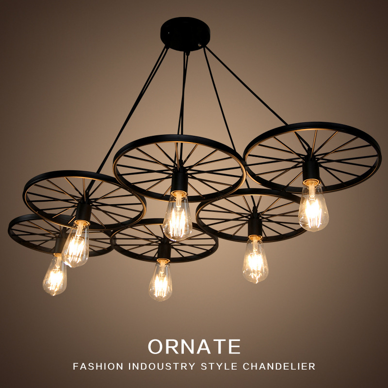 ФОТО Nordic Retro Vintage Metal Wheel Pendant Lights Industrial Lighting E27 Lustre LED Lamp For Dining Room Restaurant Loft Hanglamp