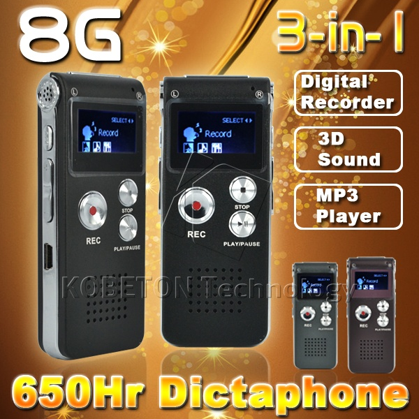2016 Professional 8 ГБ Цифровой Аудио Голос Регистраторы Мини цифровой диктофон MP3 плеер ручка