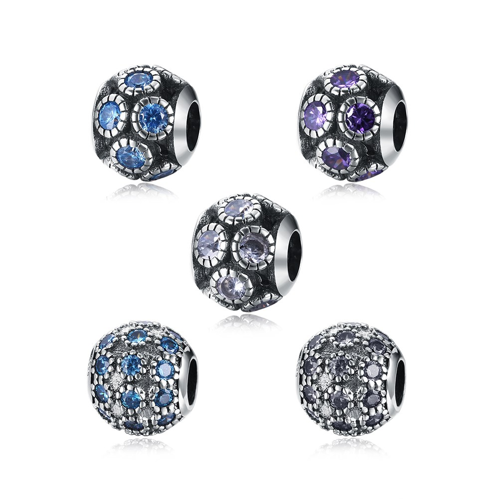 GOMAYA S925 Sterling Silver Charm Fashion Jewwlry Navy Blue Round Beads For Women Ladies Bracelet Jewelry Accessories in Beads from Jewelry Accessories