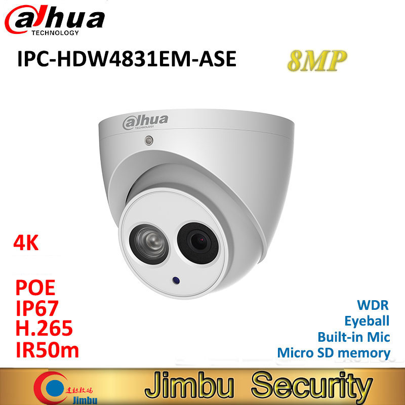 Dahua 4 k caméra IPC-HDW4831EM-ASE IR50m globe oculaire CCTV 8MP IP caméra WDR built-in Mic H.265 Micro SD mémoire IP67 réseau caméra