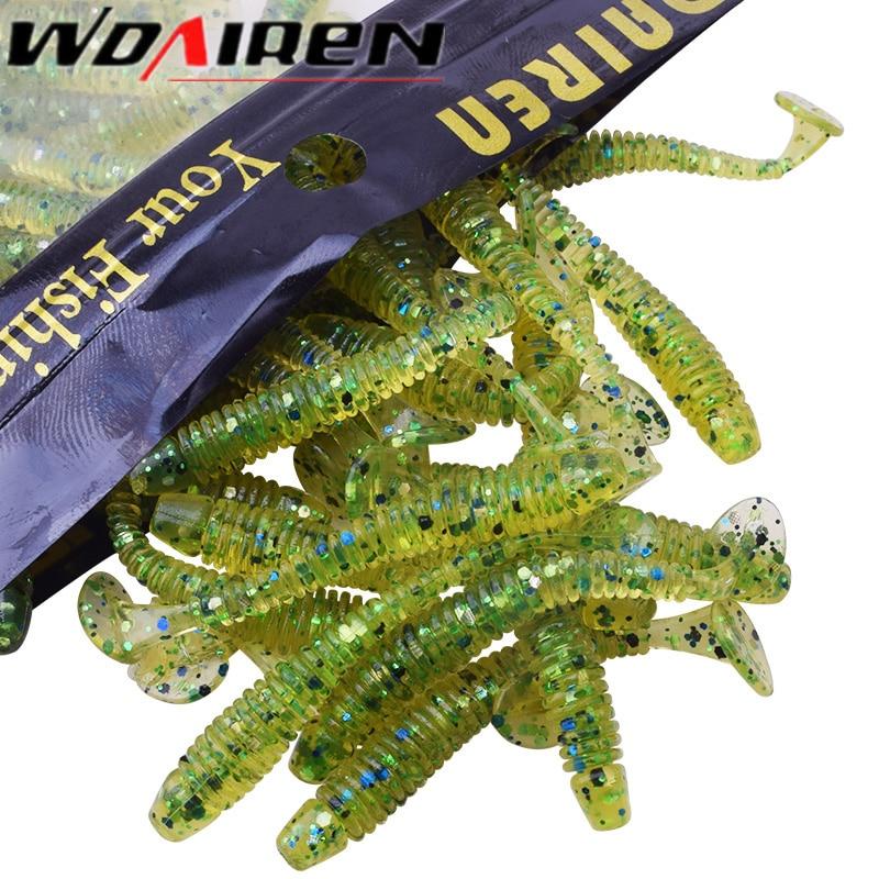 WDAIREN 50pcs/package Fishing Lures Soft Lures Fishing 45mm/0.7g Soft Bait Bass Bait Swimbait Craws Swing Impact Peche Tackle