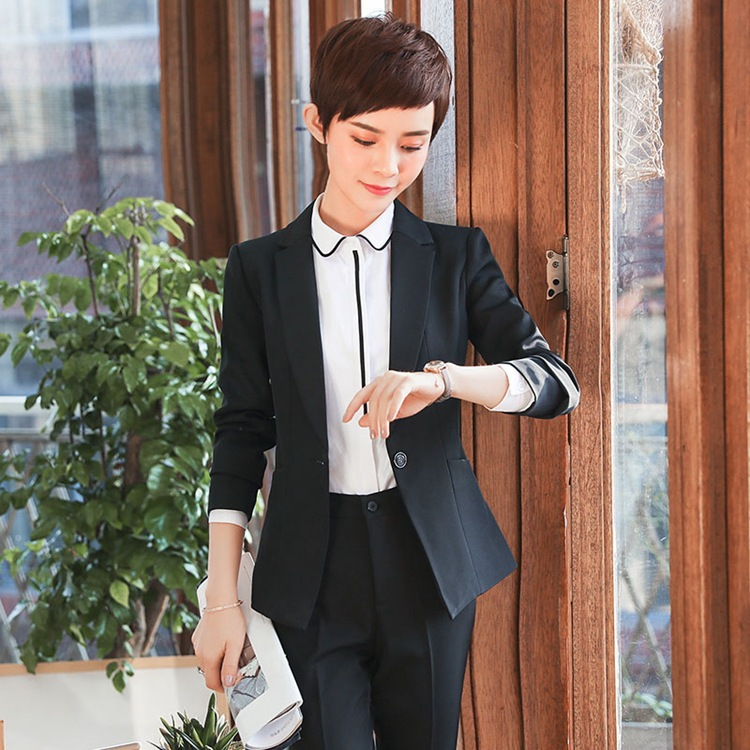 De Vêtements Longues Travail Ol blue gray D'entrevue black Bureau Professionnelle Mode blue Esthéticienne Femmes Automne Usure black Costume Manches Gray Femme À 6w8tq6Og