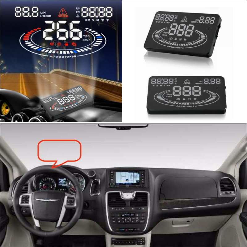 Para a Chrysler Town & Country 2015 2016-Safe Driving Car HUD Head Up Display Tela Do Projetor Refkecting Brisa