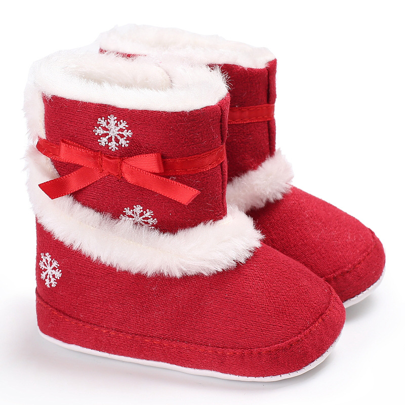 Christmas Shoes For Girls.Us 4 21 20 Off 2019 New Baby Shoes Winter Girls Warm Christmas Boots With Fur Infant First Walkers Fashion Antislip Cute Bow Snow Booties In First