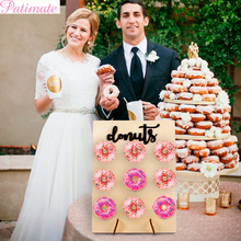 PATIMATE Wedding Decoration Donuts Wall Holds Sweet Rustic Donut Party Stand Wooden DIY Dessert Bar For Birthday