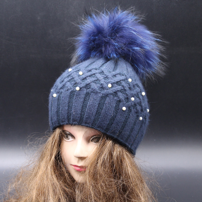 Top Quality Fashion Pearl Skullies Beanies For Ladies Winter Hat Cap With  Pompom Ball Women Wool Knitted Fur Pompom Hat-in Skullies   Beanies from  Apparel ... ce5c304201b