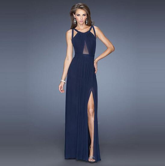 New Sexy Backless Night Club Bodycon Dress Sleeveless Slit Emprie Maxi Party Ball Dress Solid Popular