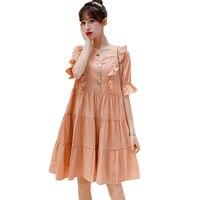Summer Cute Plus Size Loose Dress for Pregnant Women Nursing Maternity Elegant Korean Fashion Clothes Ruffles Pregnancy Dresses