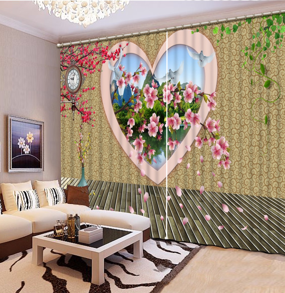 modern-curtains-for-living-room customize photo curtains 3d stereoscopic Love wall revealed beautiful squid patternmodern-curtains-for-living-room customize photo curtains 3d stereoscopic Love wall revealed beautiful squid pattern