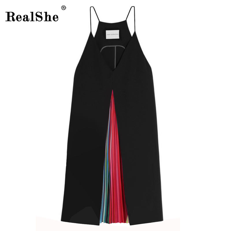 RealShe Sexy Rainbow Pleated Casual Dresses 2019 Sexy V Neck Backless Spaghetti Strap Summer Party Dresses