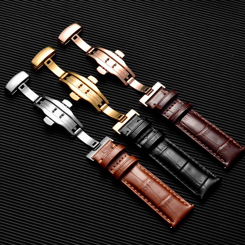 Genuine Leather Watchband Calfskin With Butterfly Buckle Bands Bracelet for Watch Strap sized in 14 16 18 19 20 21 22 mm
