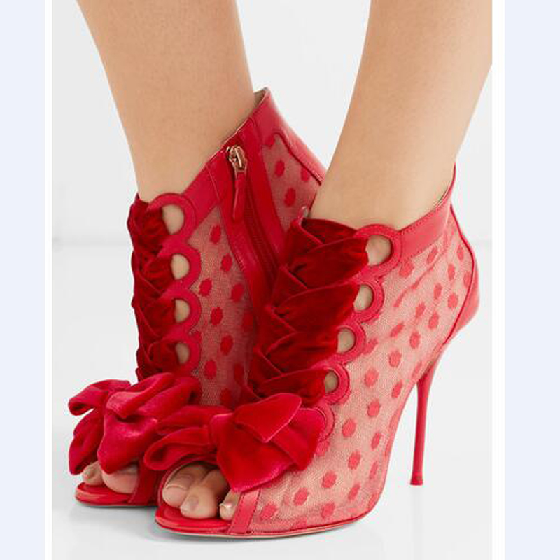 2017 Latest High Quality Mesh High Heel Sandal Sweet Red Bowtie Embellished Summer Sandals Wedding Party Dress Shoes Woman top selling open toe high heel sandals luxury rhinestone embellished lace up sandal wedding party summer dress shoes women