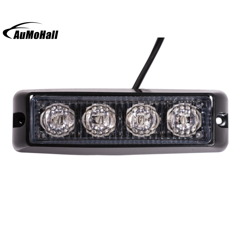 4 LED Emergency Vehicle Side Marker Grille Flash Strobe Light Red 4W SideMarker Lights plug in electricity style corridor fire emergency light led safety export indicator sign vacuation passageway marker light