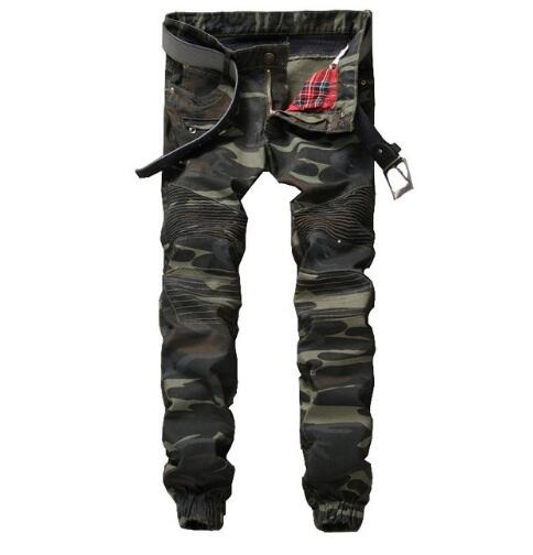 #1542 2017 Camouflage jeans men Military Mens designer clothes Slim fit Patchwork Skinny jeans men Motorcycle pants Pleated