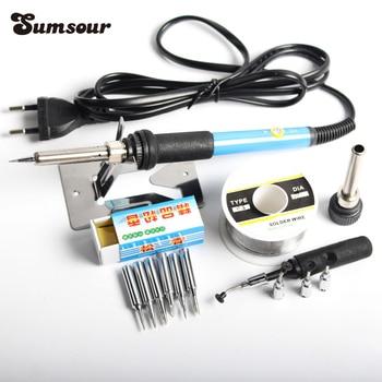 110V / 220V 60W Electric Soldering Iron Adjustable Temperature Solder Station 6pc Iron Tip Stand Solder Wire Repair Tool Kit Set Electric Soldering Irons