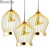Современные золото Bird cage подвесные светильники светодио дный подвесной светильник Кухня светильники промышленные декор для Обеденная дом