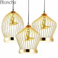 Modern Gold Bird cage Pendant Lights Led Hanging Lamp Kitchen Fixtures Industrial Decor for Dining Room Home Lighting Luminaire