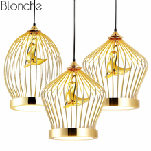 Modern Gold Bird cage Pendant Lights Led Hanging Lamp Kitche