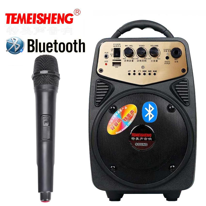 High Power Bluetooth Loudspeaker Wireless Microphone Amplifier Portable Speaker Lithium Battery Support TF Card USB Play