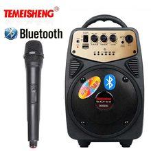 Ad alta Potenza Bluetooth Altoparlante Amplificatore di Microfono Senza Fili Altoparlante Portatile Batteria Al Litio carta di Tf di Sostegno di Riproduzione USB Colonna