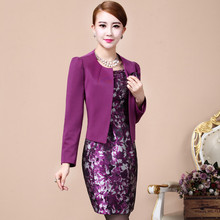 women winter dress suit two piece womens set midi office dress and long sleeve jackets coats for party business