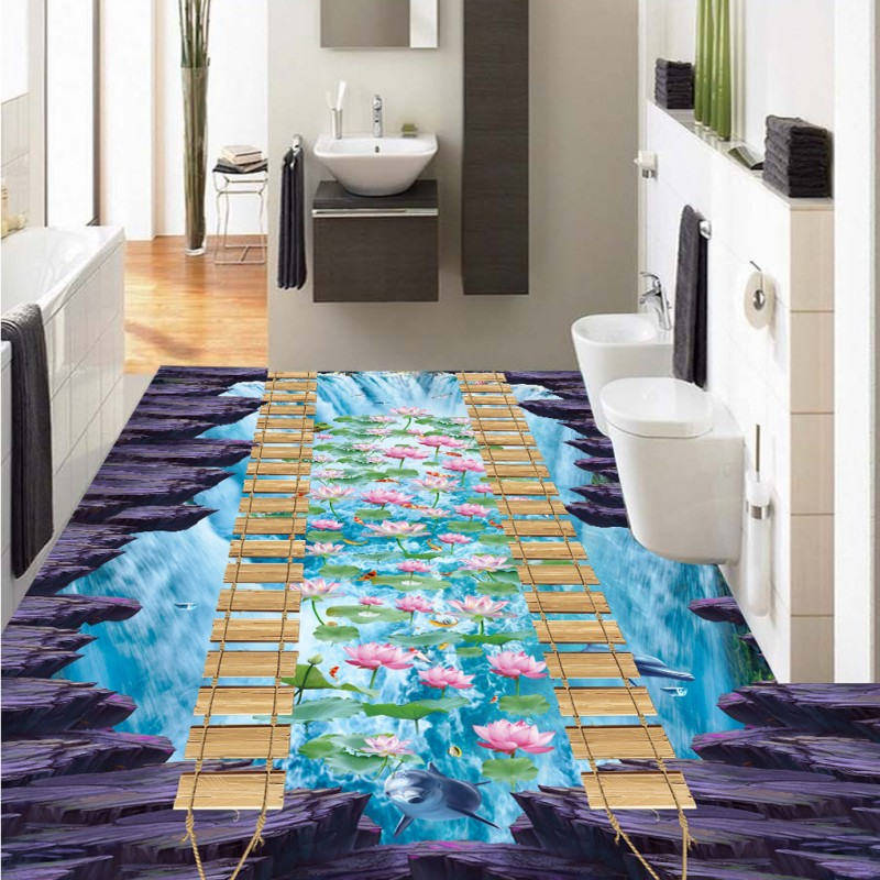 Free Shipping bathroom street flooring painting 3D River water financial rock self-adhesive PVC floor wallpaper muralFree Shipping bathroom street flooring painting 3D River water financial rock self-adhesive PVC floor wallpaper mural