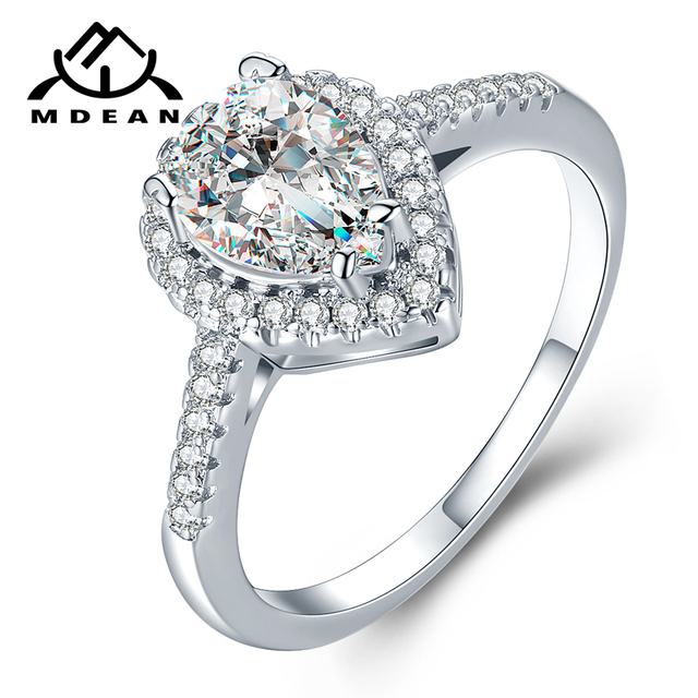MDEAN White Gold Color Rings for Women Engagement Wedding Drop water clear AAA Z