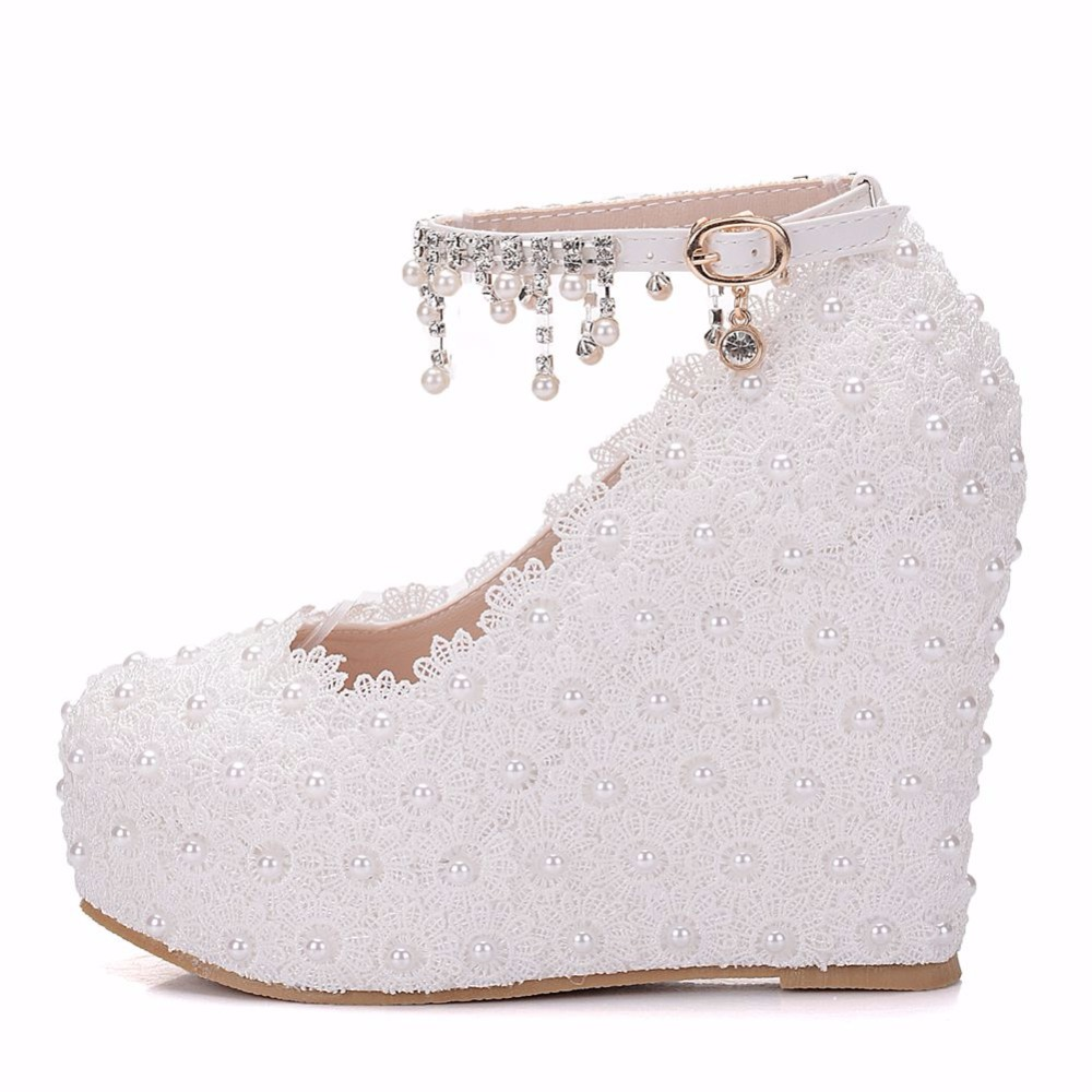 11cm women Elegant heels wedges shoes pumps white pearl and crystal ... 5a5a1e2d4537