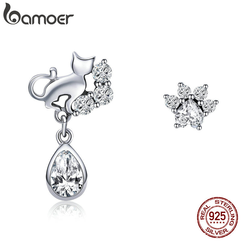 BAMOER Hot Sale 925 Sterling Silver Dazzling CZ Guardian Cat Stud Earrings for Women Fashion Sterling Silver Jewelry 2018 SCE424 bamoer original 925 sterling silver dazzling daisy flower stud earrings for women jewelry pas434