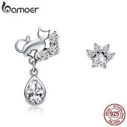 BAMOER Hot Sale 925 Sterling Silver Dazzling CZ Guardian Cat Stud Earrings for Women Fashion Sterling Silver Jewelry 2018 SCE424