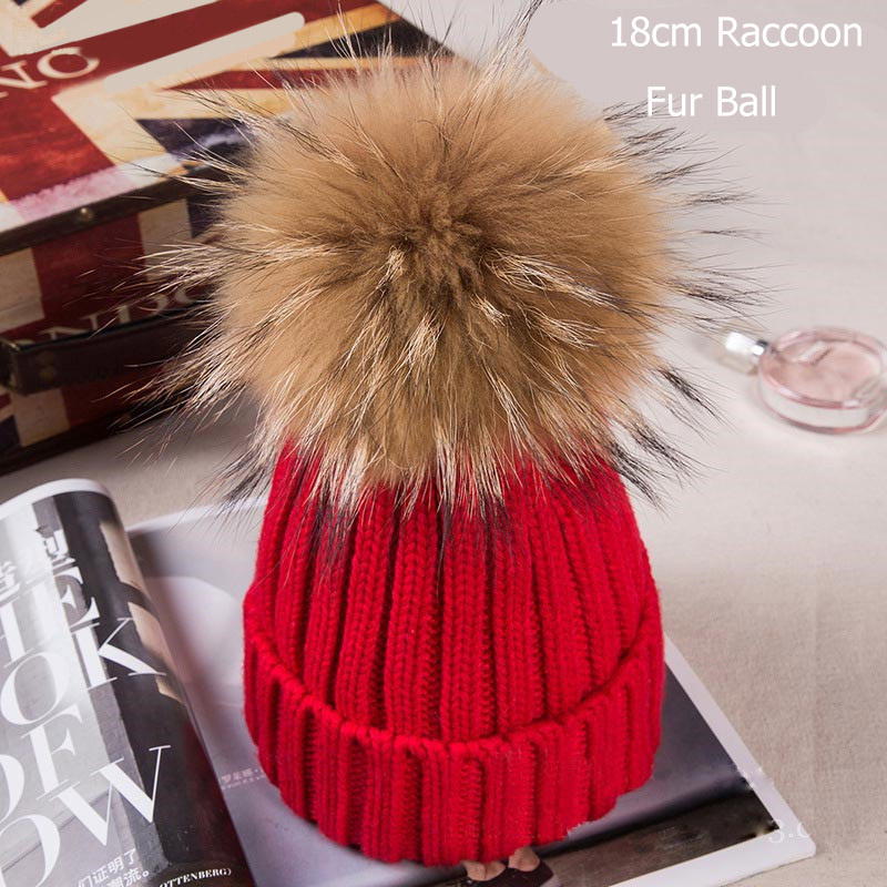 Maylooks Winter Caps Knitted Beanie Hat With Raccoon Fur Poms For Women Hip Hop Skullies Cap Real 18cm Fur Pompom Beanies Cap autumn winter beanie fur hat knitted wool cap with raccoon fur pompom skullies caps ladies knit winter hats for women beanies