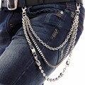 Free King New Men Silver Multi 3 Strands Metal Link Wallet Chain Key Chain Biker Box Beads Link Trucker Jeans Chain J09