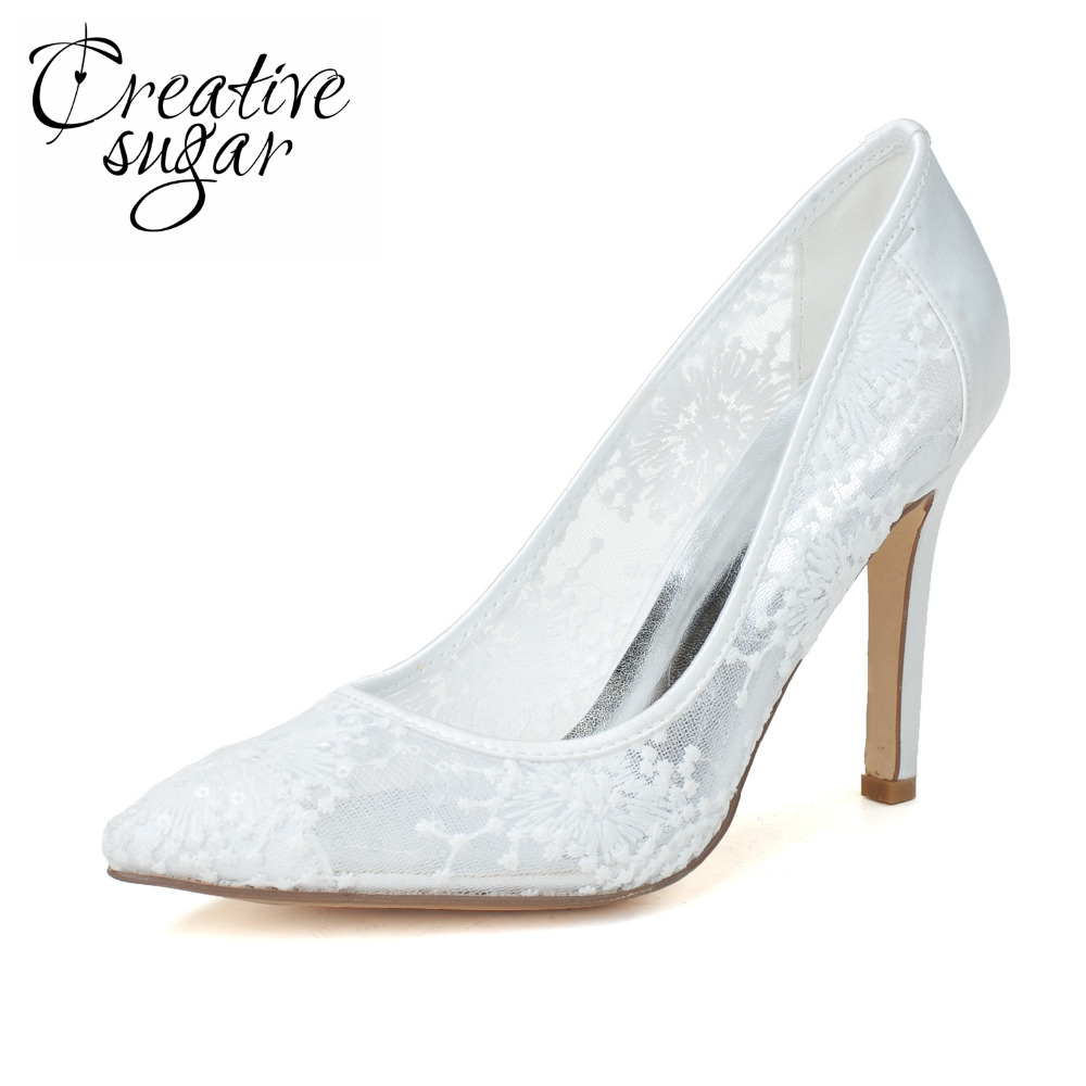 Creativesugar Sweet see through lace mesh pointed toe heels bridal wedding party prom homecoming graduation shoes white pink fashion white lady peep toe shoes for wedding graduation party prom shoes elegant high heel lace flower bridal wedding shoes