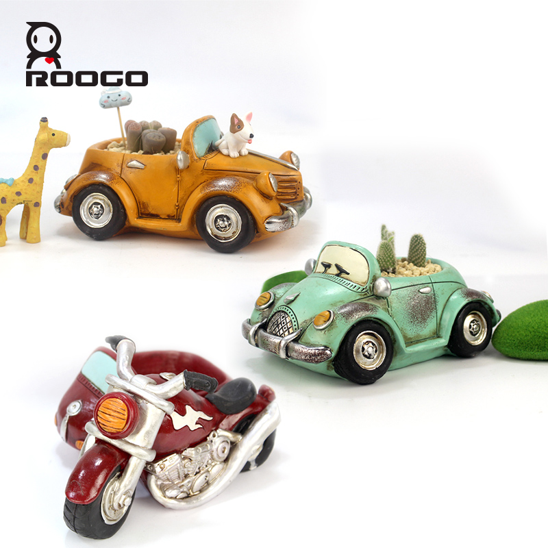 Image 3 - Roogo Car Flower Pot Planters Indoor Resin Garden 11 Style Small Succulent Plan Pot Outdoor Modern Home Decoration Figurines-in Flower Pots & Planters from Home & Garden